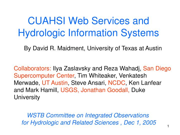 cuahsi web services and hydrologic information systems n.