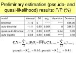 preliminary estimation pseudo and quasi likelihood results f p