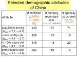 selected demographic attributes of china