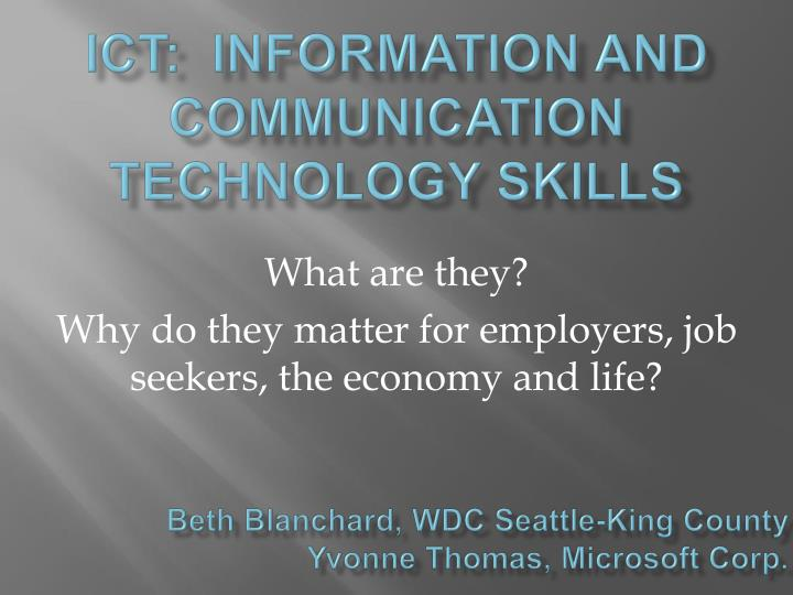 ict information and communication technology skills n.