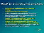 health it federal government roles