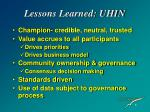 lessons learned uhin