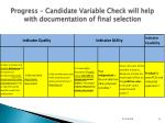 progress candidate variable check will help with documentation of final selection