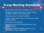 troop meeting standards