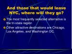 and those that would leave nyc where will they go