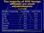 the majority of nyc foreign affiliates are small establishments of total