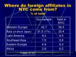 where do foreign affiliates in nyc come from of total