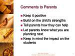 comments to parents