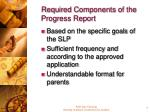 required components of the progress report