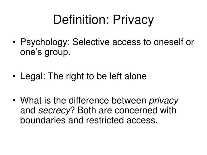 definition privacy n.