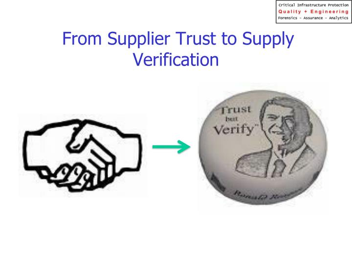 From Supplier Trust to Supply Verification