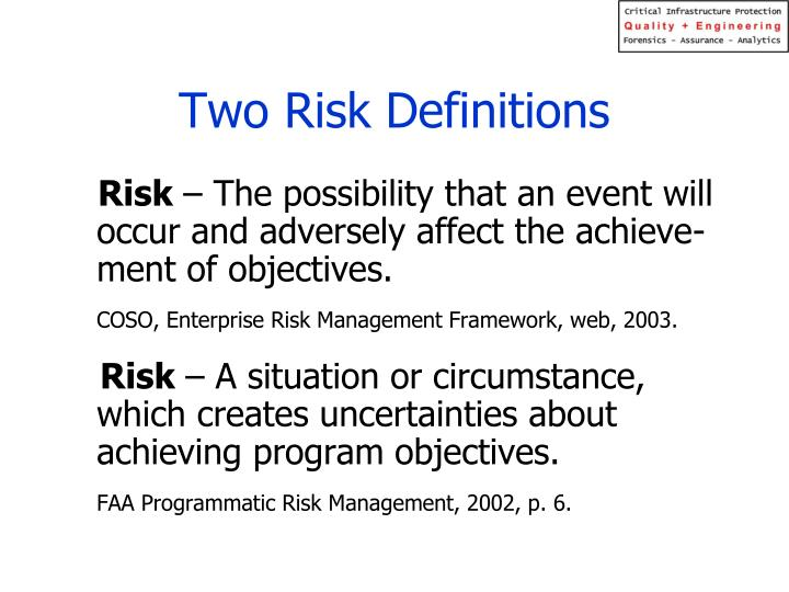Two Risk Definitions