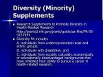 diversity minority supplements