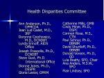 health disparities committee