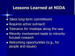 lessons learned at nida1
