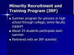 minority recruitment and training program irp
