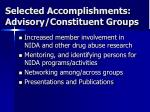 selected accomplishments advisory constituent groups
