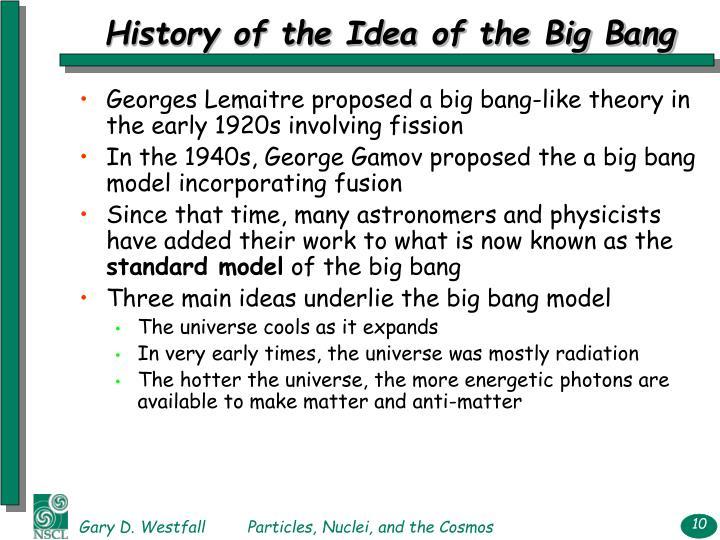 History of the Idea of the Big Bang