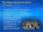 the new world of work core tenets