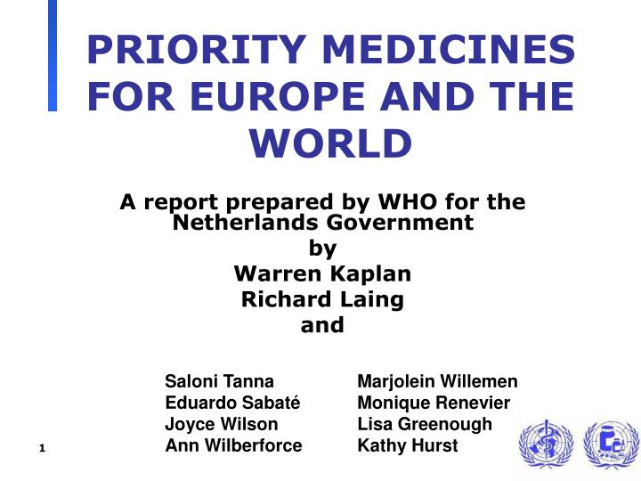 priority medicines for europe and the world n.