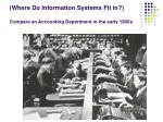 where do information systems fit in compare an accounting department in the early 1900s
