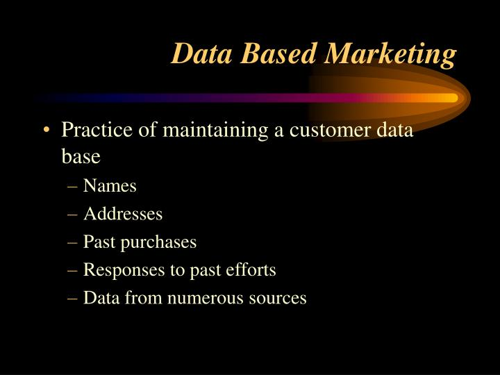Practice of maintaining a customer data base