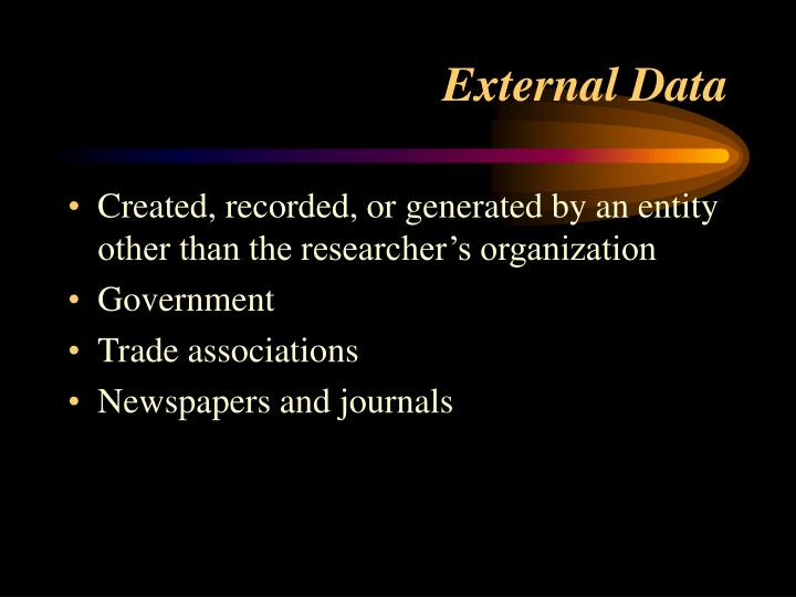 Created, recorded, or generated by an entity other than the researcher's organization