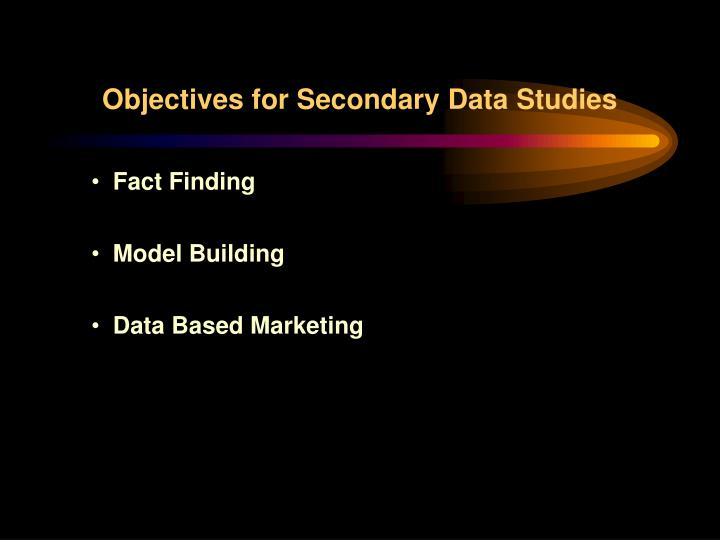 Objectives for Secondary Data Studies