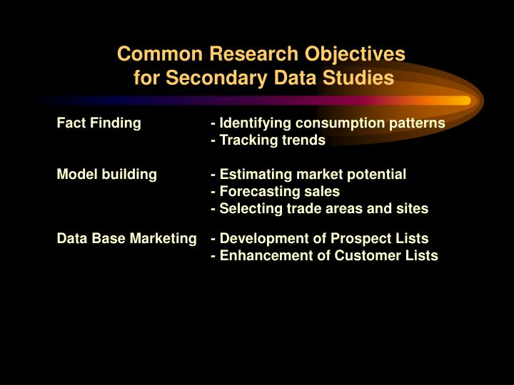 Common Research Objectives