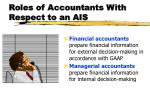 roles of accountants with respect to an ais