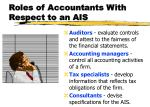 roles of accountants with respect to an ais1