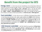 benefit from the project for bts