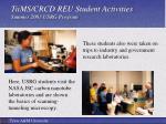 tiims crcd reu student activities summer 2003 usrg program1