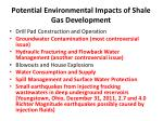 potential environmental impacts of shale gas development