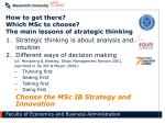 how to get there which msc to choose the main lessons of strategic thinking