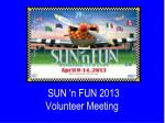 sun n fun 2013 volunteer meeting