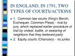 in england in 1791 two types of courts actions