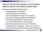 improve the overall integrity of the energy pipeline system and reduce system risk