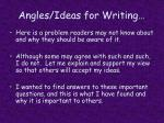 angles ideas for writing