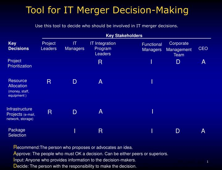 tool for it merger decision making n.