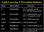lipid lowering 2 o prevention diabetes