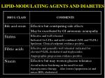 lipid modulating agents and diabetes