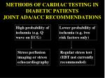 methods of cardiac testing in diabetic patients joint ada acc recommendations