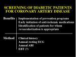 screening of diabetic patients for coronary artery disease