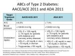 abcs of type 2 diabetes aace ace 2011 and ada 2011