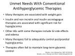 unmet needs with conventional antihyperglycemic therapies