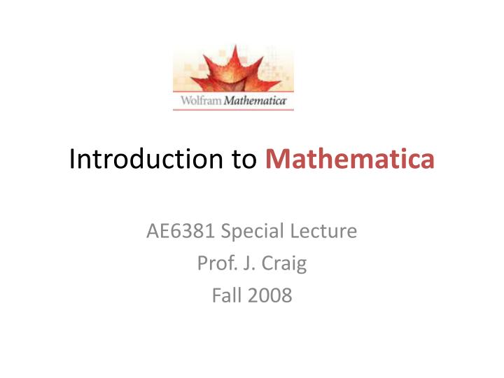 introduction to mathematica n.