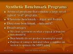 synthetic benchmark programs