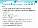 student placements out of u k1