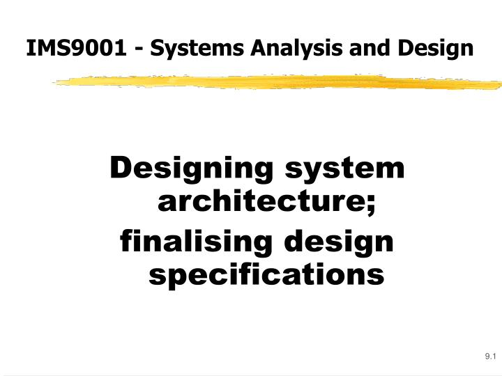 ims9001 systems analysis and design n.
